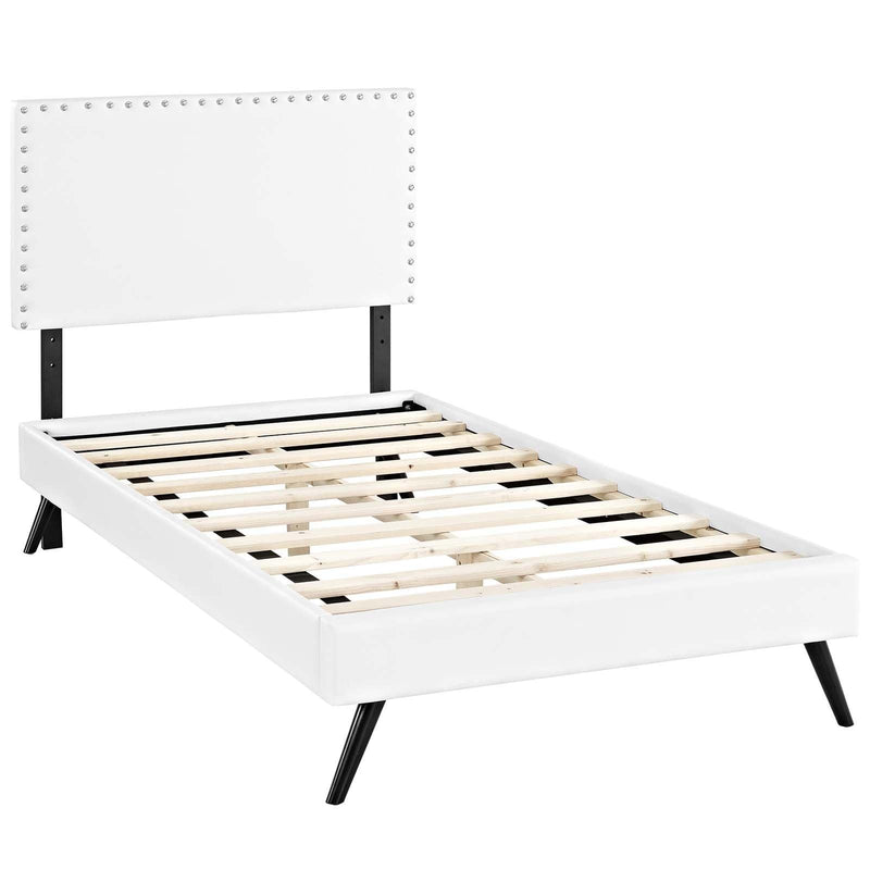 Macie Twin Vinyl Platform Bed with Round Splayed Legs