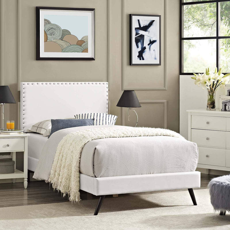 Macie Twin Vinyl Platform Bed with Round Splayed Legs - What A Room Furniture