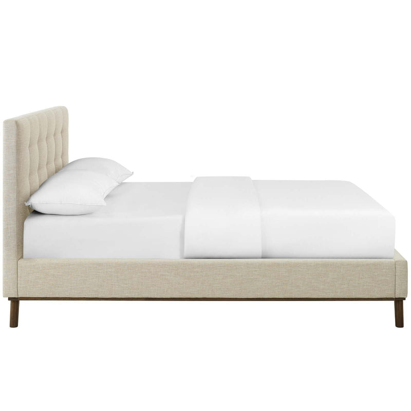 McKenzie Queen Biscuit Tufted Upholstered Fabric Platform Bed - What A Room Furniture