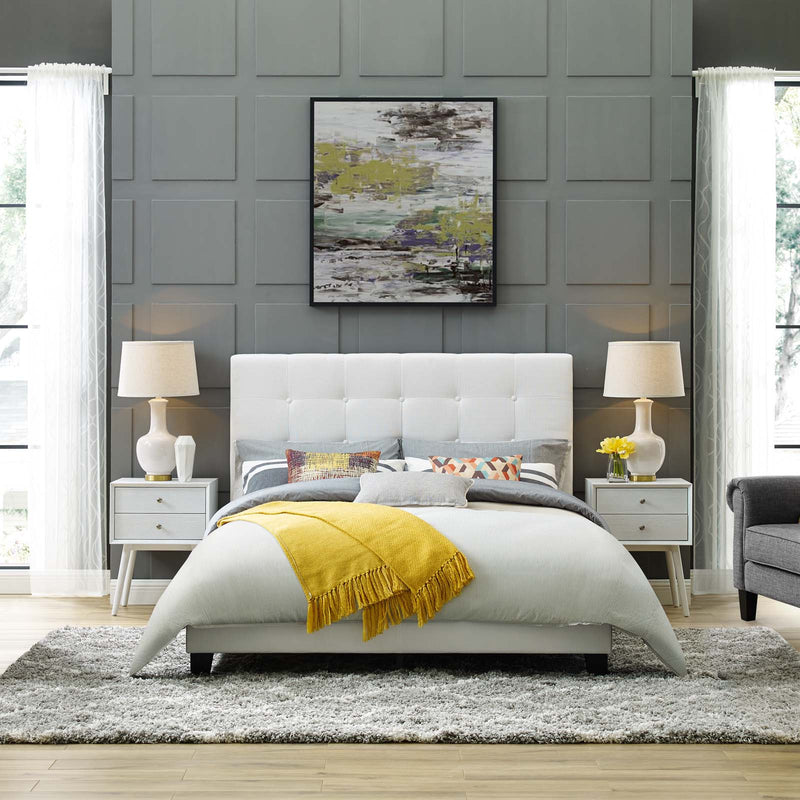Melanie Full Tufted Button Upholstered Fabric Platform Bed - What A Room Furniture