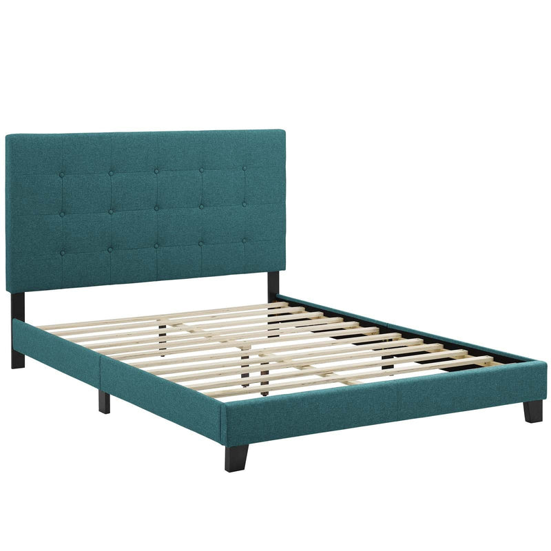 Melanie Queen Tufted Button Upholstered Fabric Platform Bed - What A Room Furniture