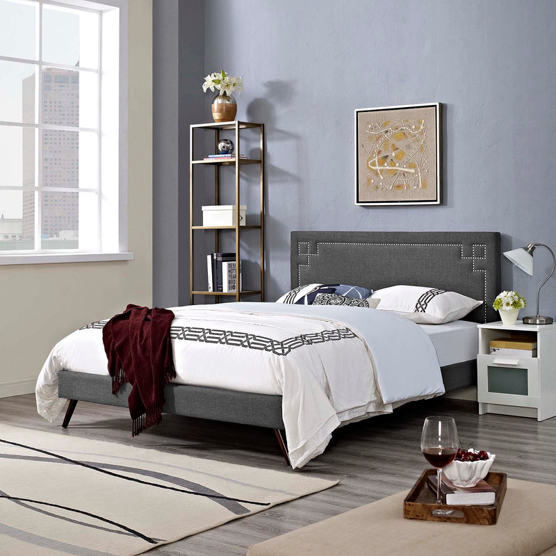Ruthie King Fabric Platform Bed with Round Splayed Legs - What A Room Furniture