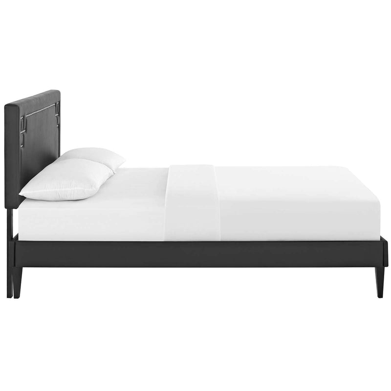 Ruthie Queen Vinyl Platform Bed with Squared Tapered Legs