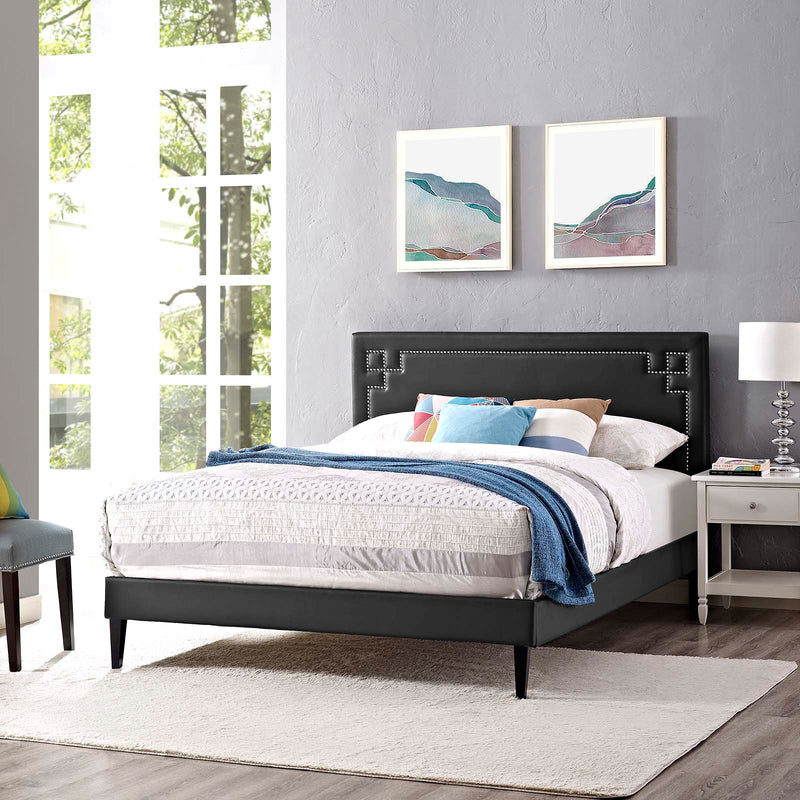 Ruthie Queen Vinyl Platform Bed with Squared Tapered Legs - What A Room Furniture