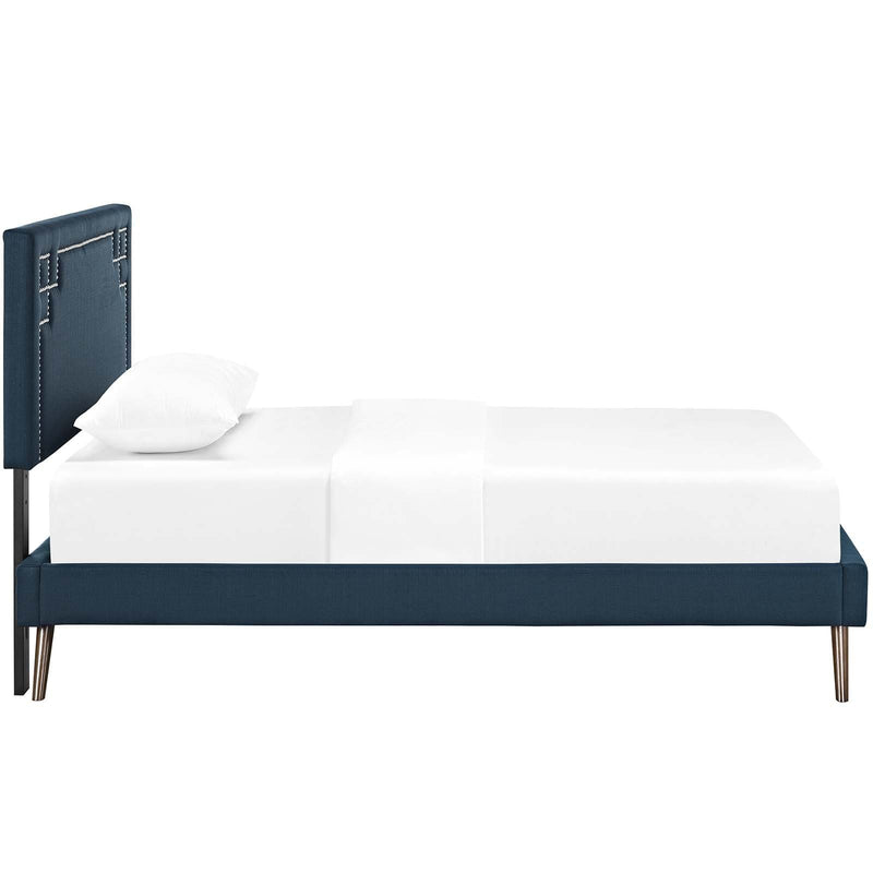 Ruthie Twin Fabric Platform Bed with Round Splayed Legs - What A Room
