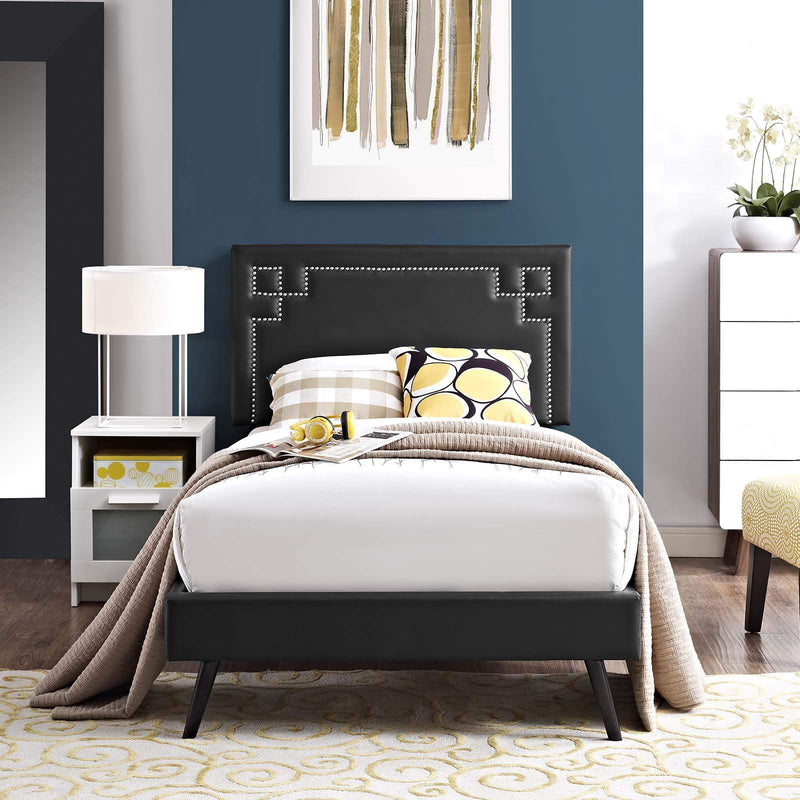 Ruthie Twin Vinyl Platform Bed with Round Splayed Legs