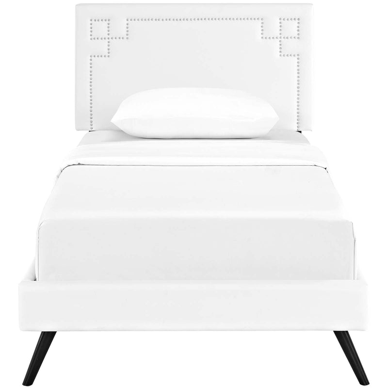 Ruthie Twin Vinyl Platform Bed with Round Splayed Legs - What A Room Furniture