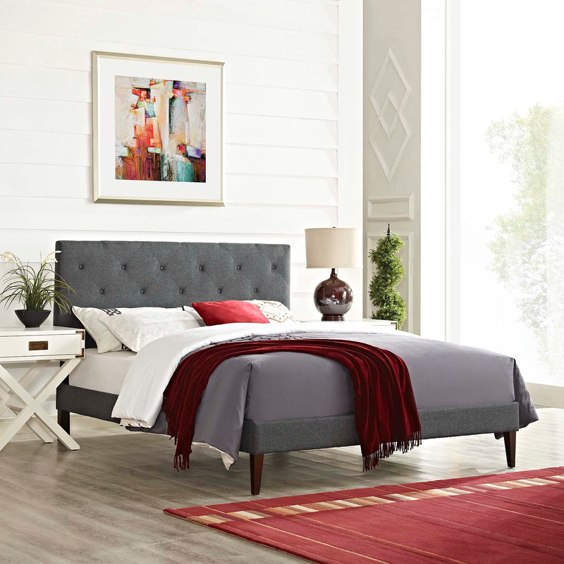 Tarah King Fabric Platform Bed with Squared Tapered Legs