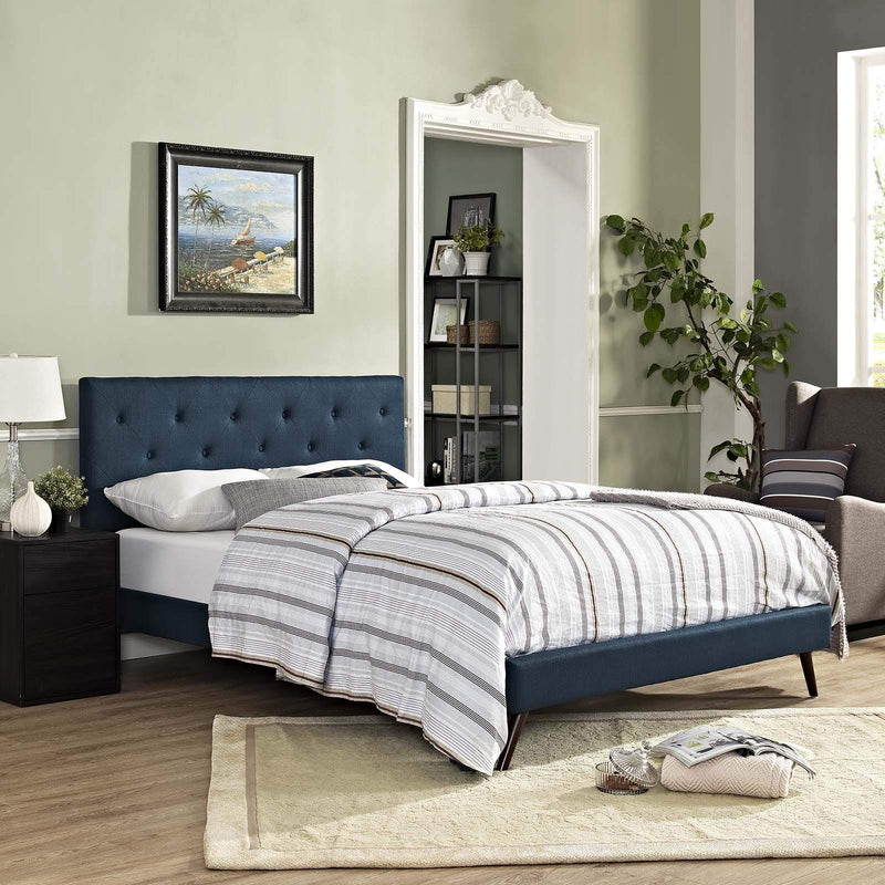 Tarah Queen Fabric Platform Bed with Round Splayed Legs