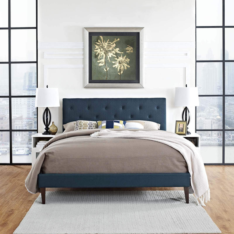 Tarah Queen Fabric Platform Bed with Squared Tapered Legs - What A Room