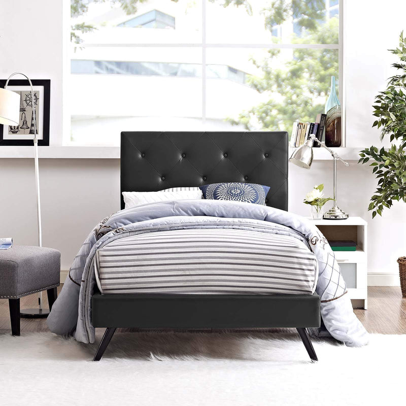 Tarah Twin Vinyl Platform Bed with Round Splayed Legs - What A Room Furniture