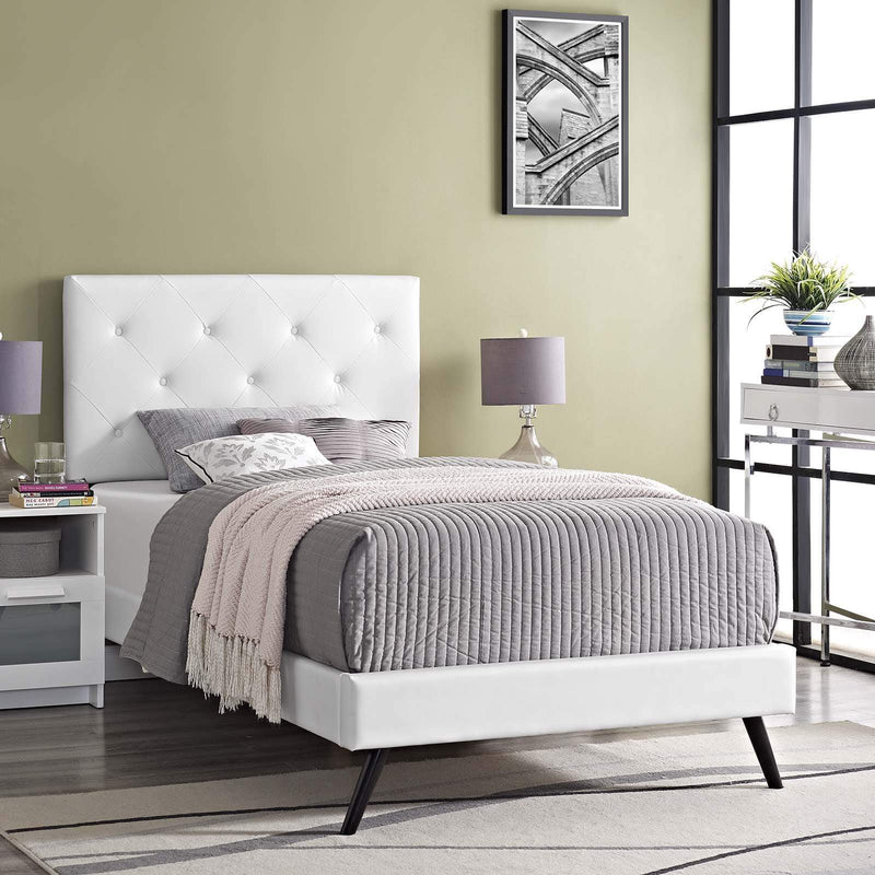 Tarah Twin Vinyl Platform Bed with Round Splayed Legs - What A Room