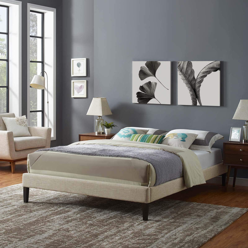 Tessie Queen Fabric Bed Frame with Squared Tapered Legs - What A Room