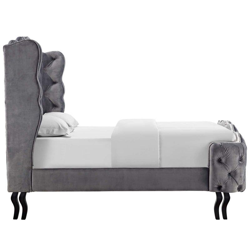 Violette Queen Tufted Wingback Performance Velvet Platform Bed - What A Room Furniture