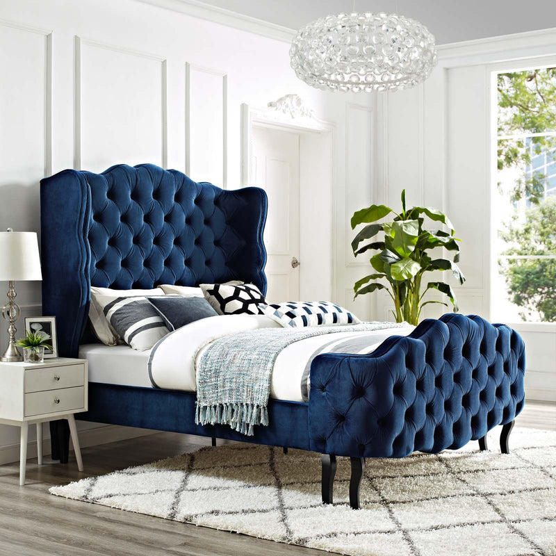 Violette Queen Tufted Wingback Performance Velvet Platform Bed