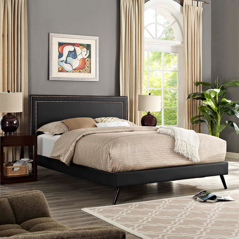 Virginia Full Vinyl Platform Bed with Round Splayed Legs - What A Room Furniture