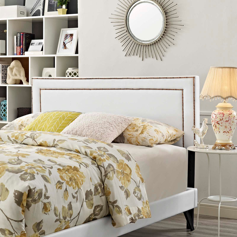 Virginia Full Vinyl Platform Bed with Round Splayed Legs