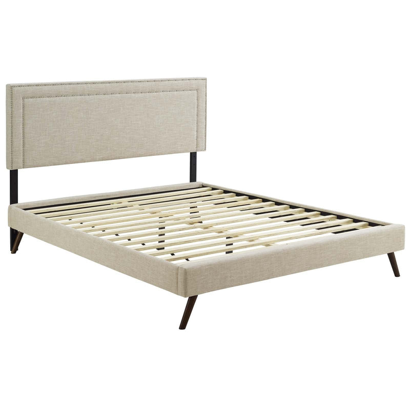 Virginia Queen Fabric Platform Bed with Round Splayed Legs - What A Room Furniture
