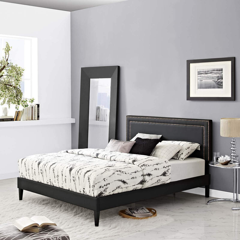 Virginia Queen Vinyl Platform Bed with Squared Tapered Legs - What A Room