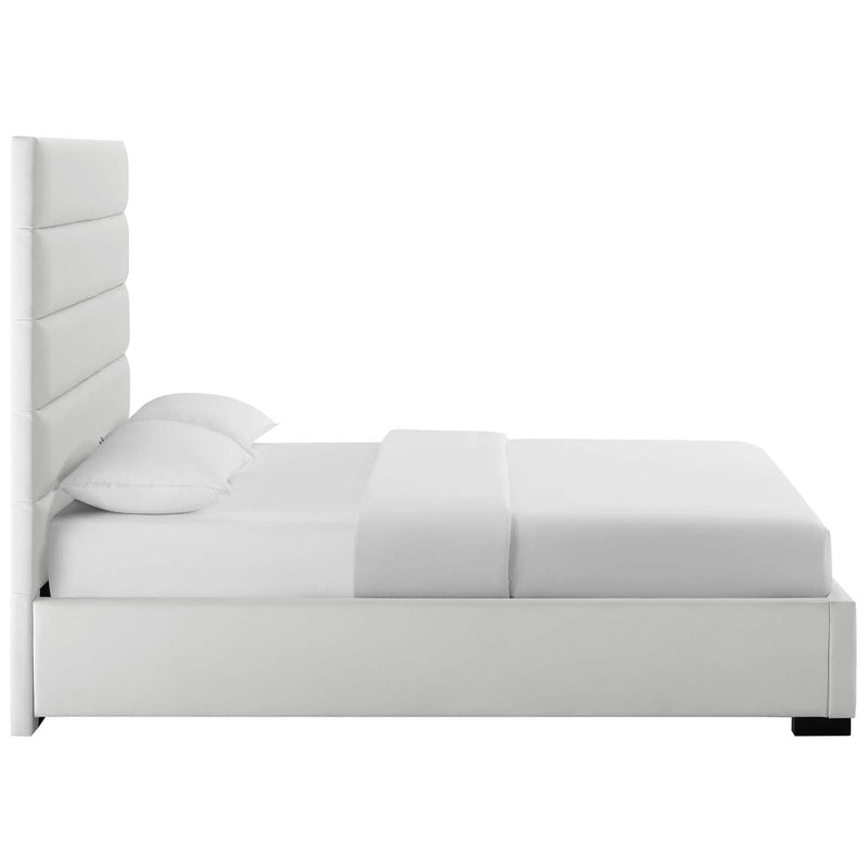 Genevieve Queen Faux Leather Platform Bed - What A Room Furniture