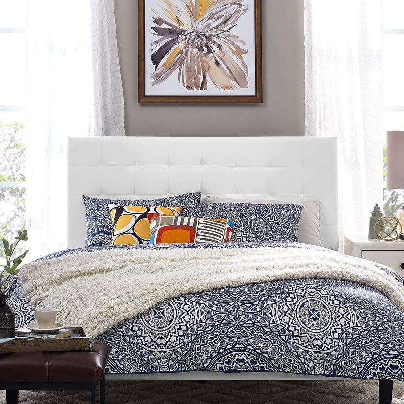 Paisley Tufted Full / Queen Upholstered Faux Leather Headboard