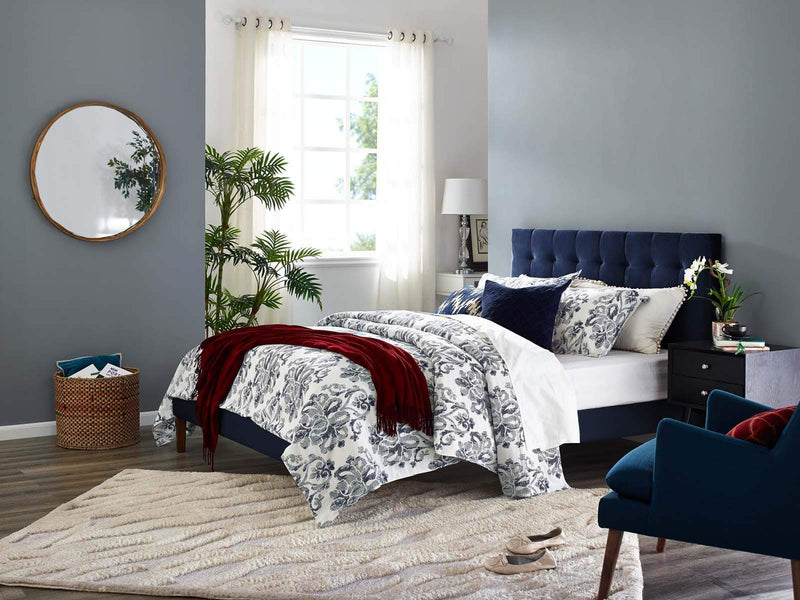 Paisley Tufted King and California King Upholstered Performance Velvet Headboard - What A Room Furniture