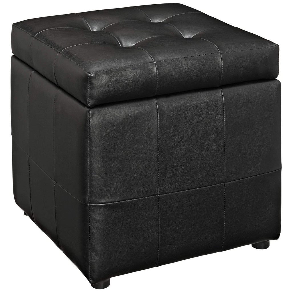Volt Storage Upholstered Vinyl Ottoman - What A Room Furniture