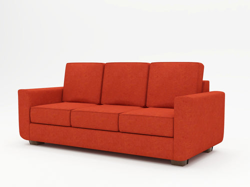 "Unique minimalist sofa with retro vibes in ""Coral"" upholstery"