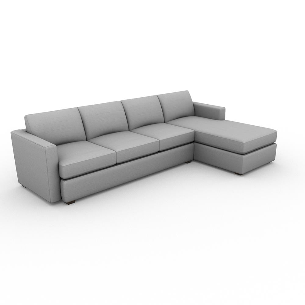 Lounge Square Arm Upholstered Sofa Chaise XL - What A Room Furniture