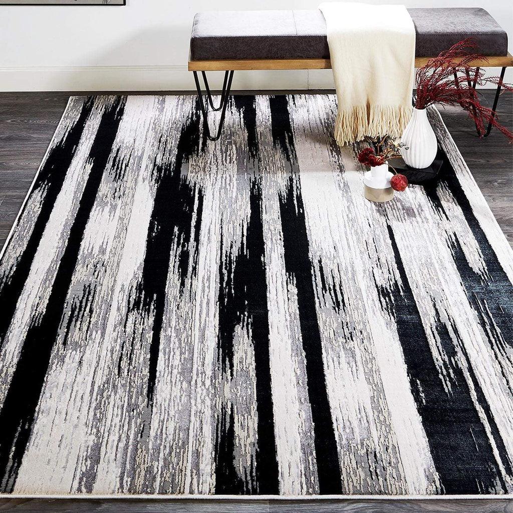 Micah Rug Collection- Black / Silver - What A Room Furniture