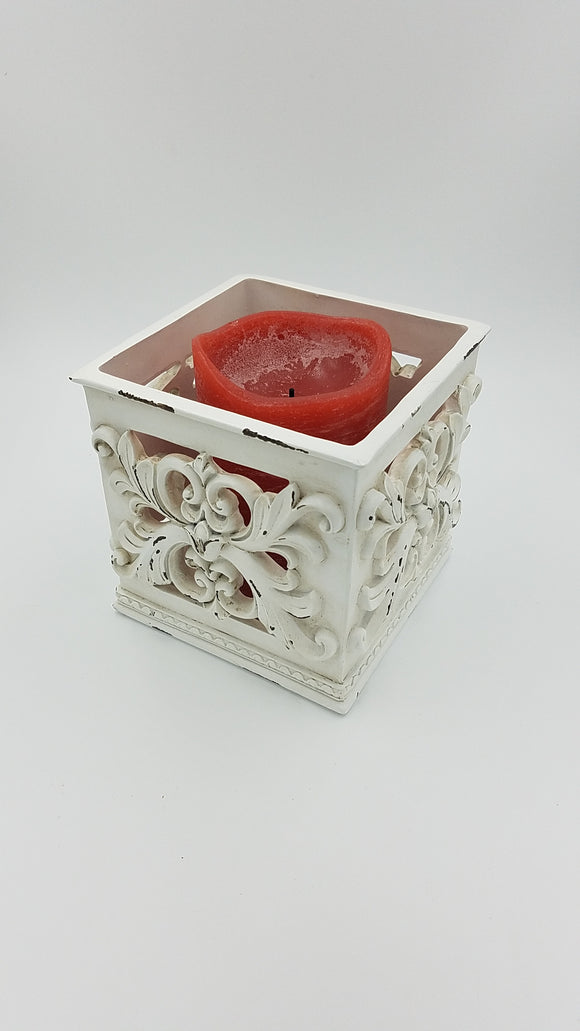 Prinz 5x5x5 Antique Cream Square Candle Holder