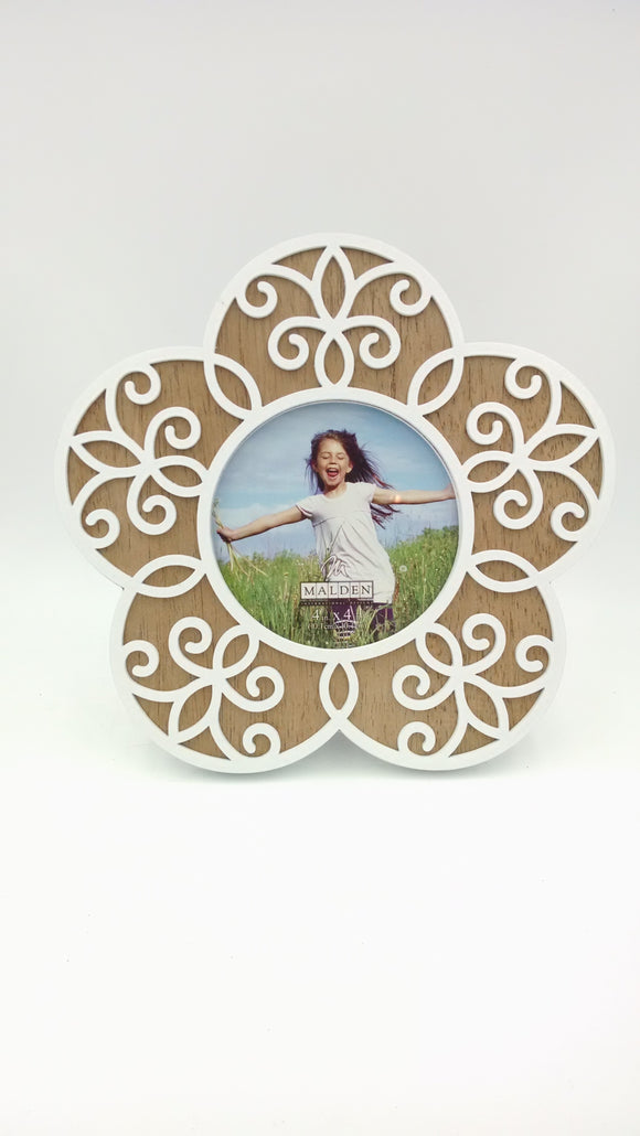 Malden 4x4 Flower Laser Cut Out White/Natural