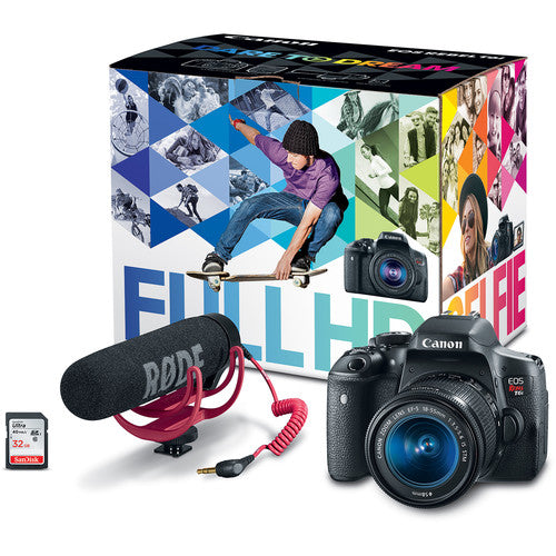 CANON EOS REBEL T6I VIDEO KIT W/EF-S 18-55MM LENS, 32GB SD CARD AND RODE VIDEOMIC GO