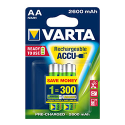 PRO VARTA BATTERY AA RECHARGEABLE PRECHARGED 2-PACK