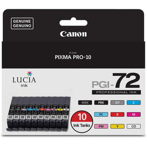 CANON INK SET FOR PIXMA PRO 10 (PGI-72, 10-COLORS-MBK PBK GY C PC R M PM Y CO)