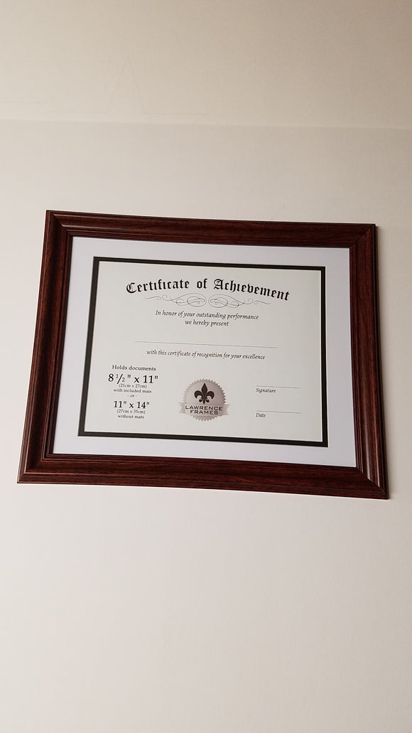 Lawrence 8.5x11 or 11x14 Certificate Walnut