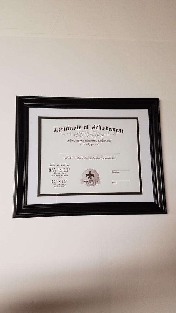 Lawrence 8.5x11/11x14 Certificate Black