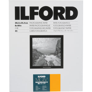 ILFORD RC BW PHOTO PAPER (8X10, 25 SHEETS) - SATIN