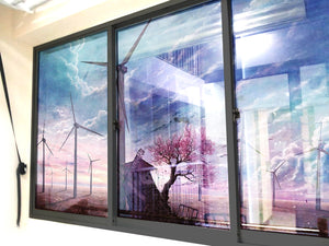 Wind Turbine Illustration Windows & Glass Art - LA31 Store