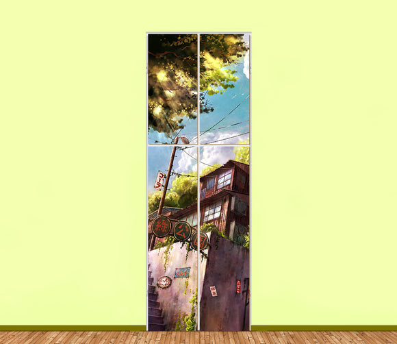 Anime Scenery Illustration Utility Cabinet Sticker Art Sets (4pieces) - LA31 Store