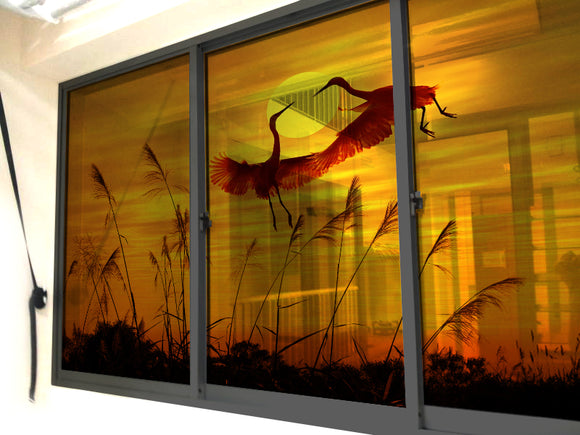 Cranes at the Sunset Windows & Glass Art - LA31 Store