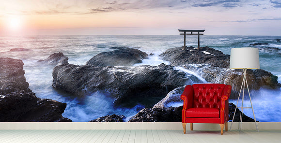 Japan Torii on Rough Waters Wall Mural Art - LA31 Store