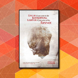 Live & Learn Forever Quote - Mahatma Gandhi Poster Art - LA31 Store