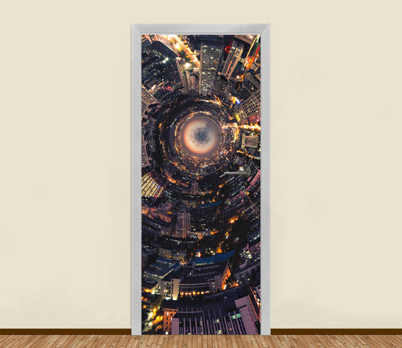Night Cityscape Perspective Residential Door Art - LA31 Store