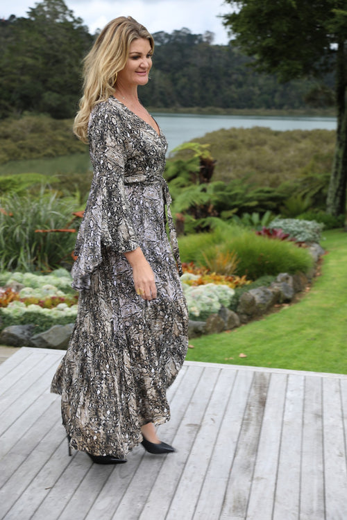Wing Woman  Maxi Dress - Dark Snake Print