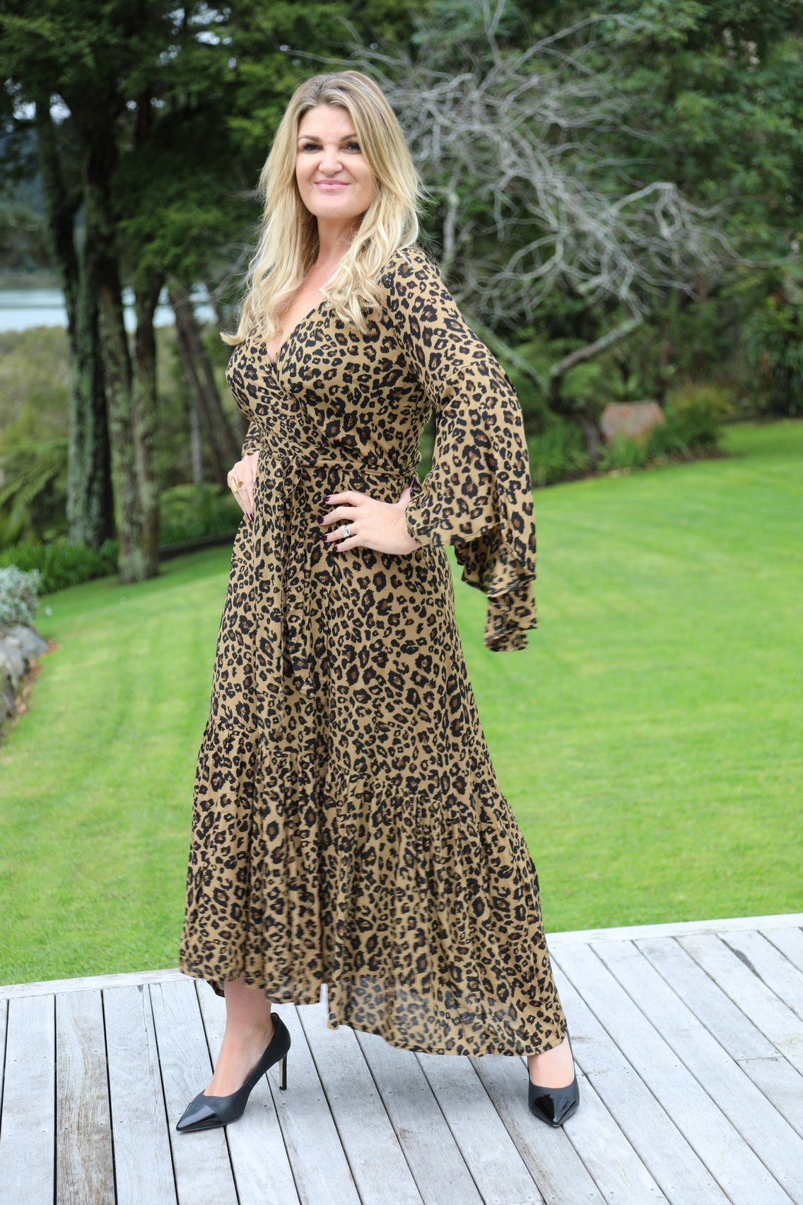 Wing Woman  Maxi Dress - Dark Leopard