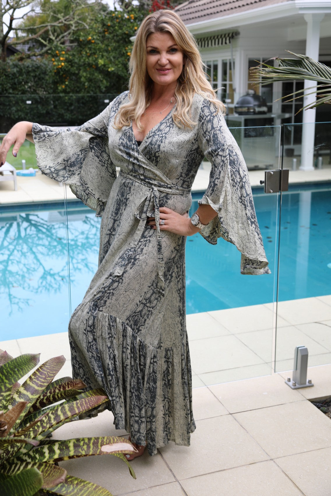 Wing Woman  Maxi Dress - Light Snake Print