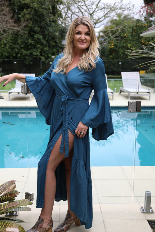 Wing Woman  Maxi Dress - Teal Blue