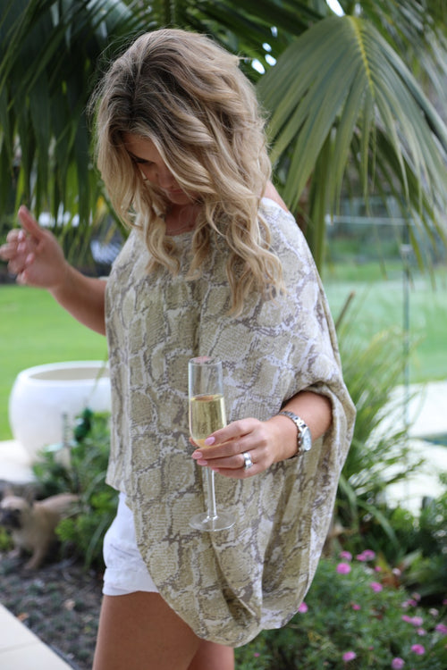 Over it Dress/Top - Beige & Tan Snake Print