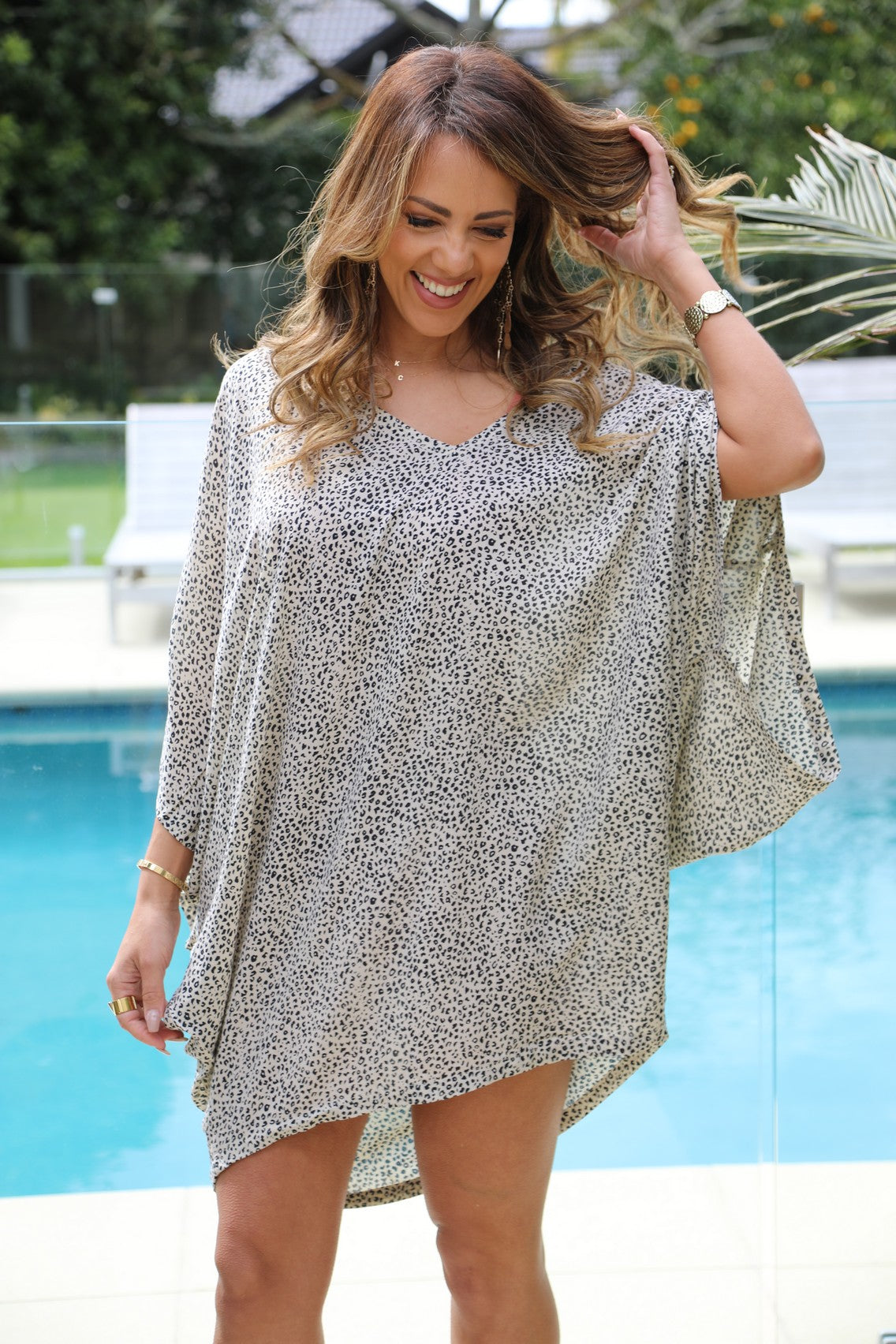 Over it Dress/Top - Small Leopard Print Cream